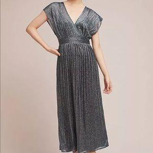 Anthropologie Pleated Metallic Wrap Dress